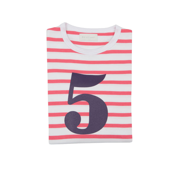 CORAL PINK & WHITE BRETON STRIPED NUMBER 5 T SHIRT