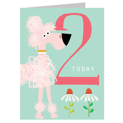 Mini Age 2 Pink Poodle Card