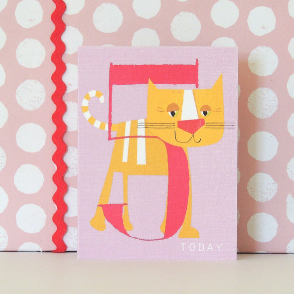 Mini Age 5 Happy Cat Card