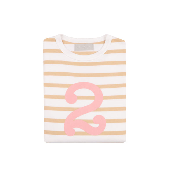 BISCUIT & WHITE BRETON STRIPED NUMBER 2 T SHIRT