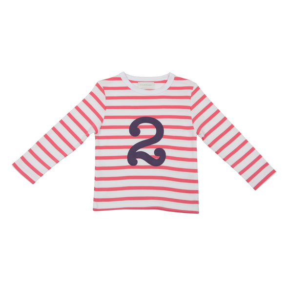 CORAL PINK & WHITE BRETON STRIPED NUMBER 2 T SHIRT