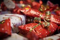 Brightly wrapped presents