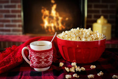 Hot chocolate and popcorn