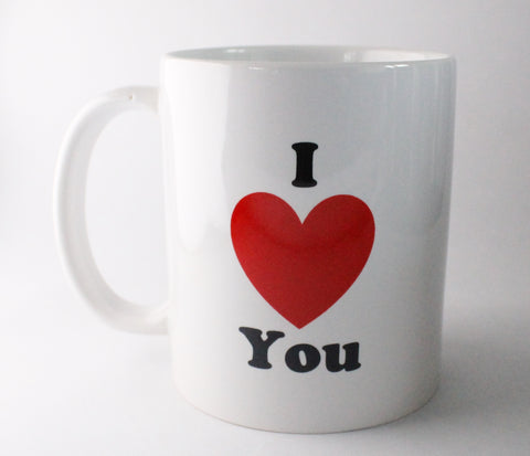 White standard mug with 'I red love heart you' on the front and 'But sometimes I want you too poop a hedgehog backwards' on the back