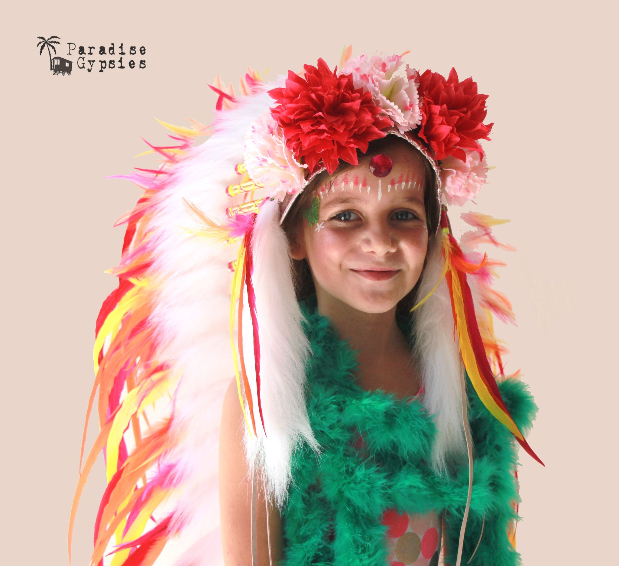 Citrus Rainbow Exotic Flower Feather Headdress - 'Festival Fever' Collection