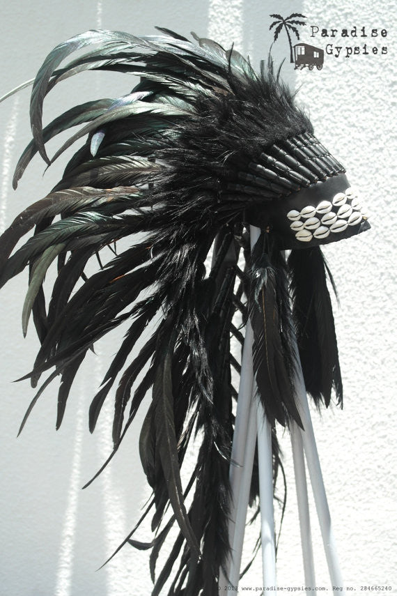 Cowrie Shell All Black Long Full Feather Headdress