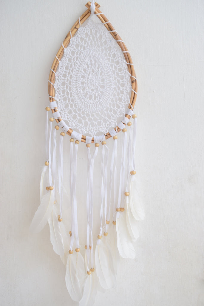 White Feather Teardrop Dreamcatcher