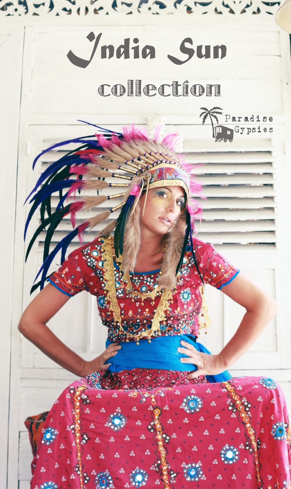 Deep Purple & Hot Pink On Gold Feather Headdress- 'India Sun' Collection