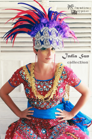 Indian Silk Embroidered Purple & Pink Feather Headdress- 'India Sun' Collection