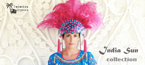 Hot Pink Show Feather Headdress- 'India Sun' Collection