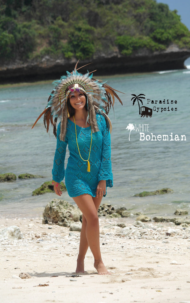 Gold Metallic Leather Brown & Turquoise Mixed Feather Headdress