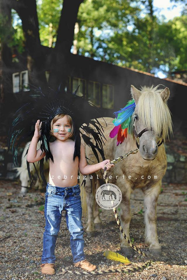 Kids Large Black Full Crown Feather Headdress