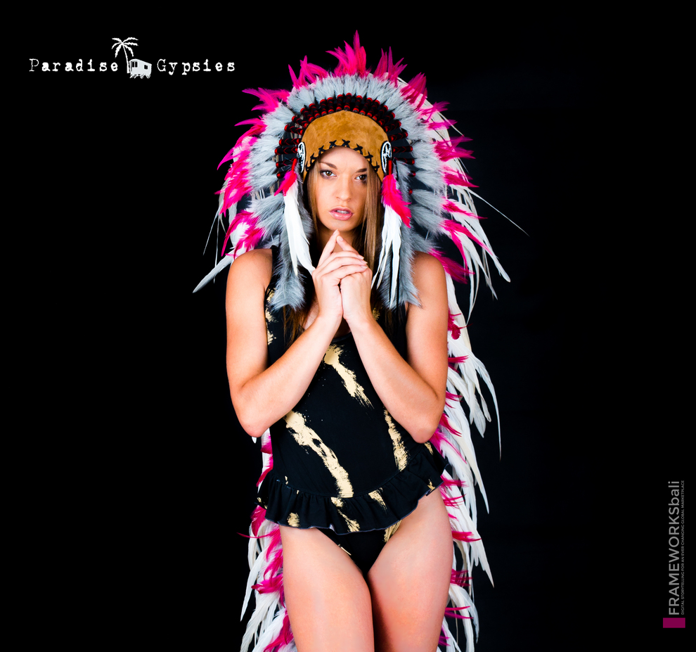 Party Season _ Long White Feather Tan Leather Pink Accent Feather Headdress