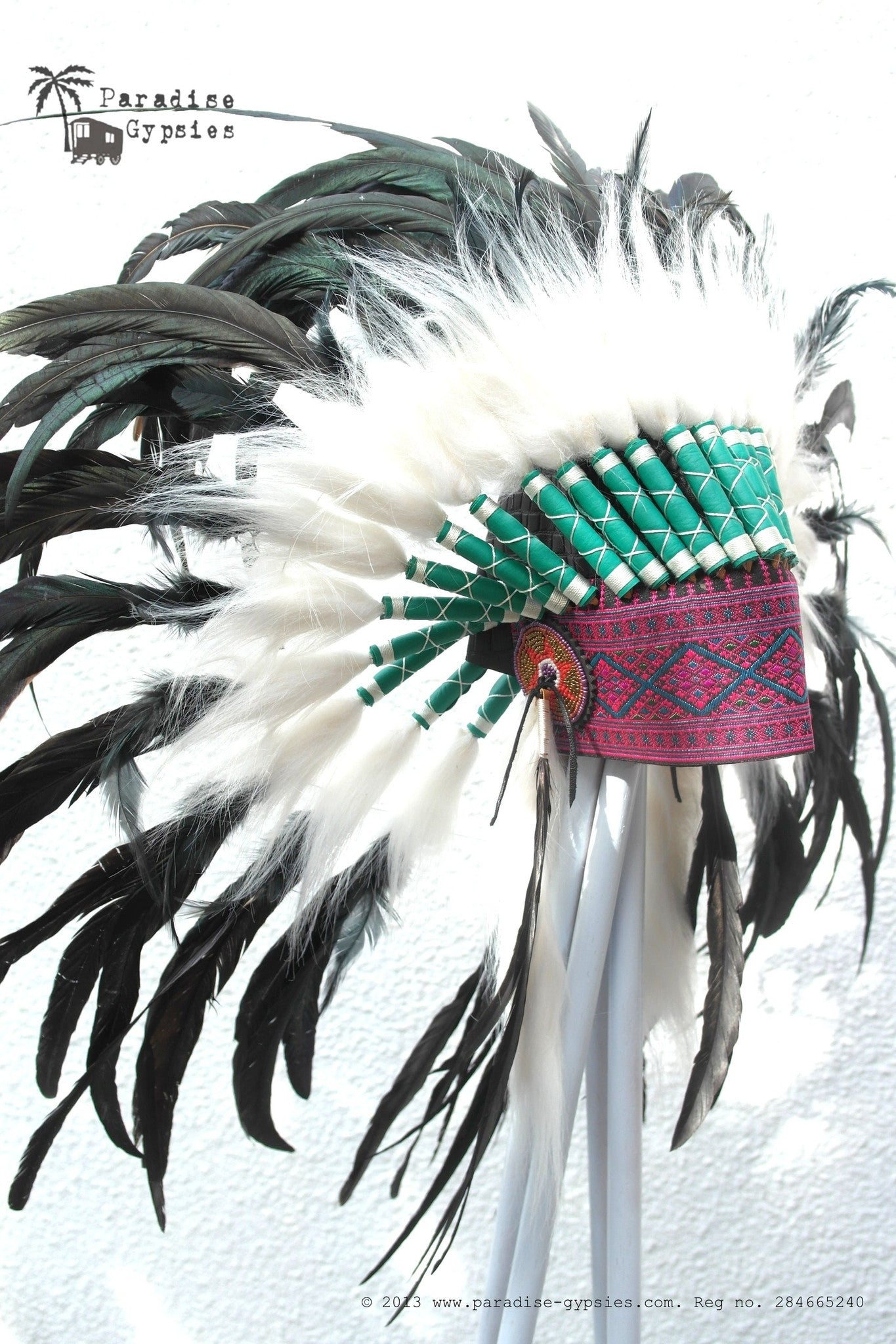 Pink Embroidered Front Black Croc Leather Black Feather Headdress