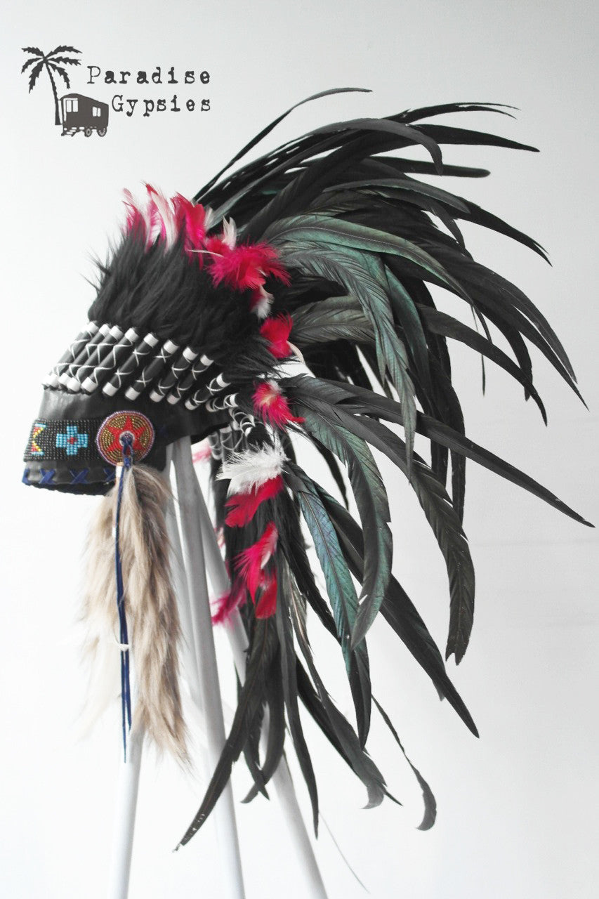 Full Black Feather Headdress Bright Red White Accent Feathers Black Turquoise Bead