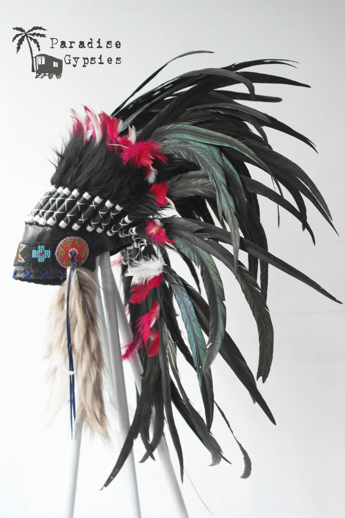 Full Black Feather Headdress Bright Pinky Red White Accent Feathers Black Turquoise Bead