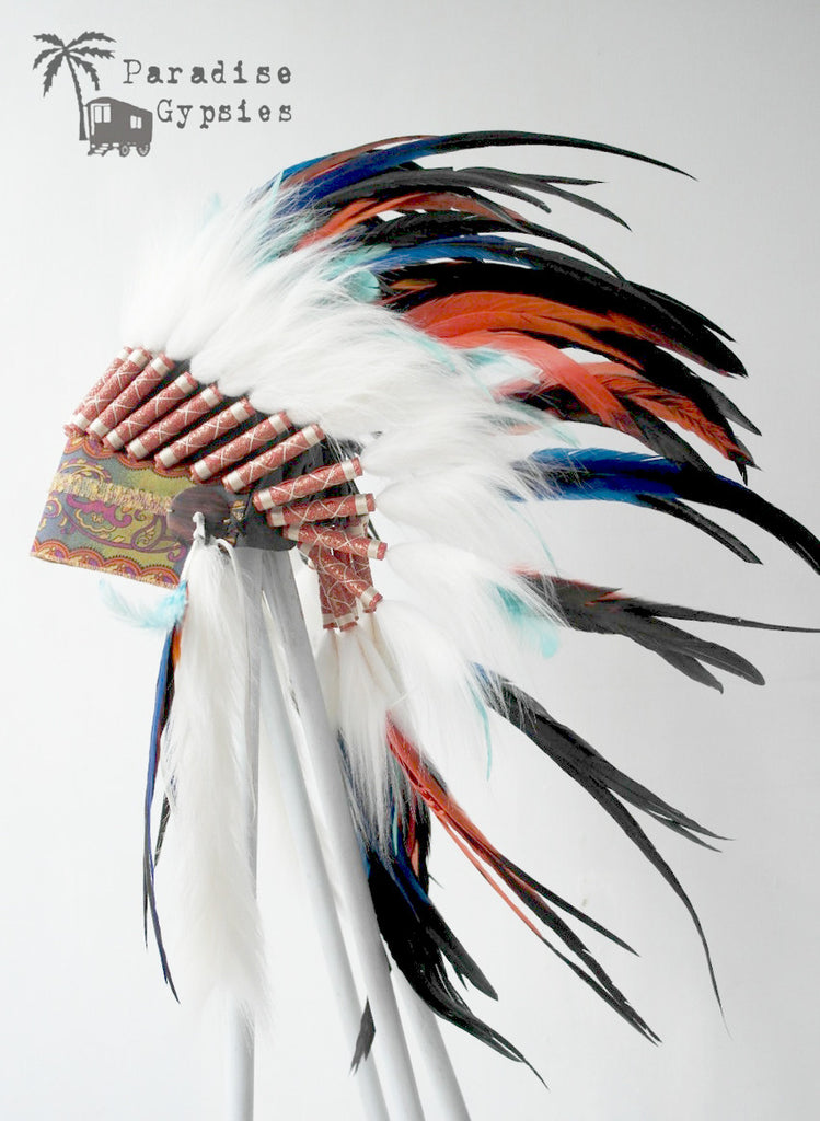 Dark Rainbow Feather Headdress Gypsy Silk Turquoise Accent Feather White Fur