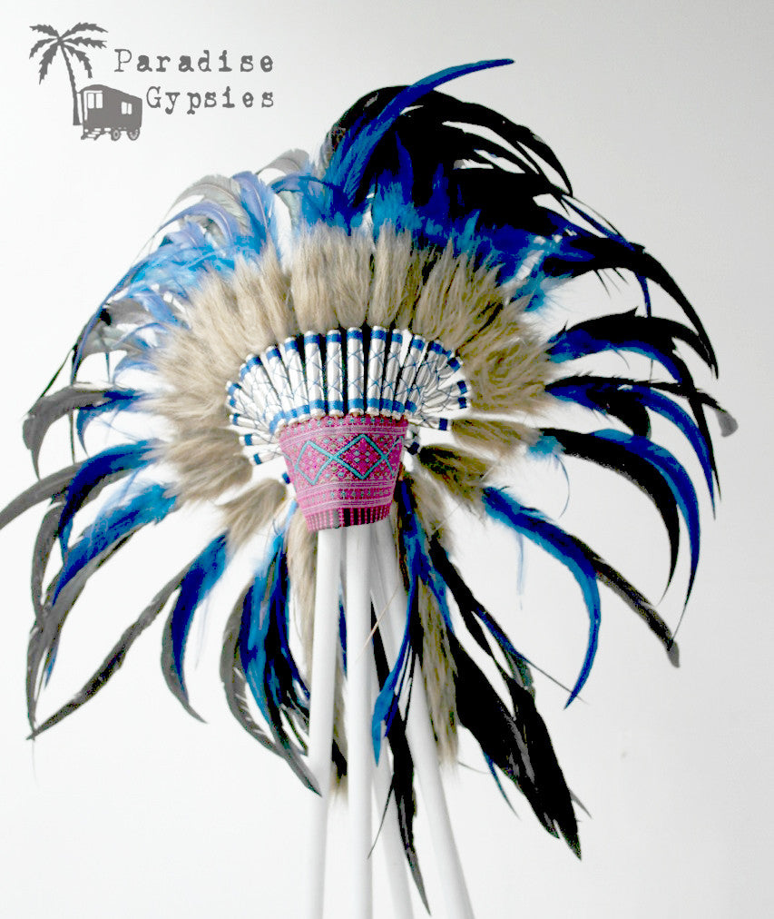 Electric Blue & Black Feather Headdress Silver Detail Tribal Embroidered Front