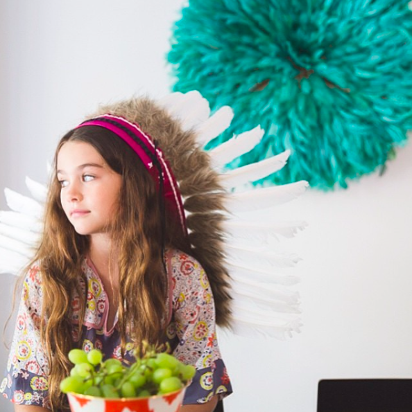 MTO Kids Hot Pink Leather Feather Headdress, White Swan Feathers