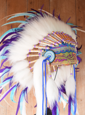 READY NOW Turquoise Purple White Gypsy Feather Headdress