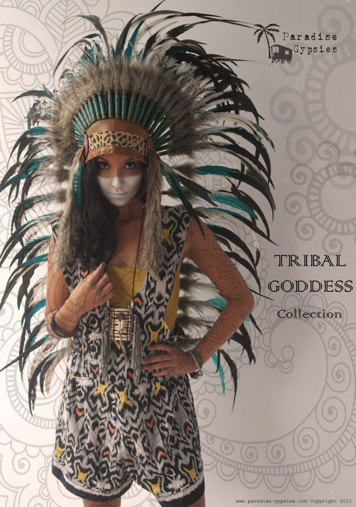 MTO Tribal Goddess - MEDIUM Leopard and Soft Tan Leather White Into Black with Turquoise Feather Headdress