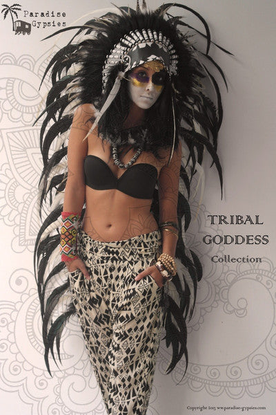 MENS Long Tribal Goddess Collection Full Black White Feather Headdress