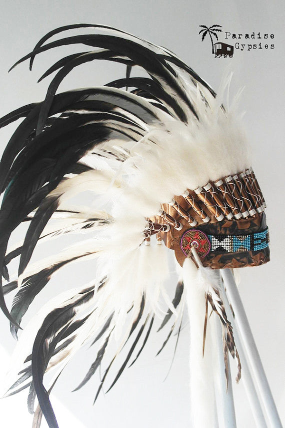 MTO Luxury Gold Headdress Black & White Feathers