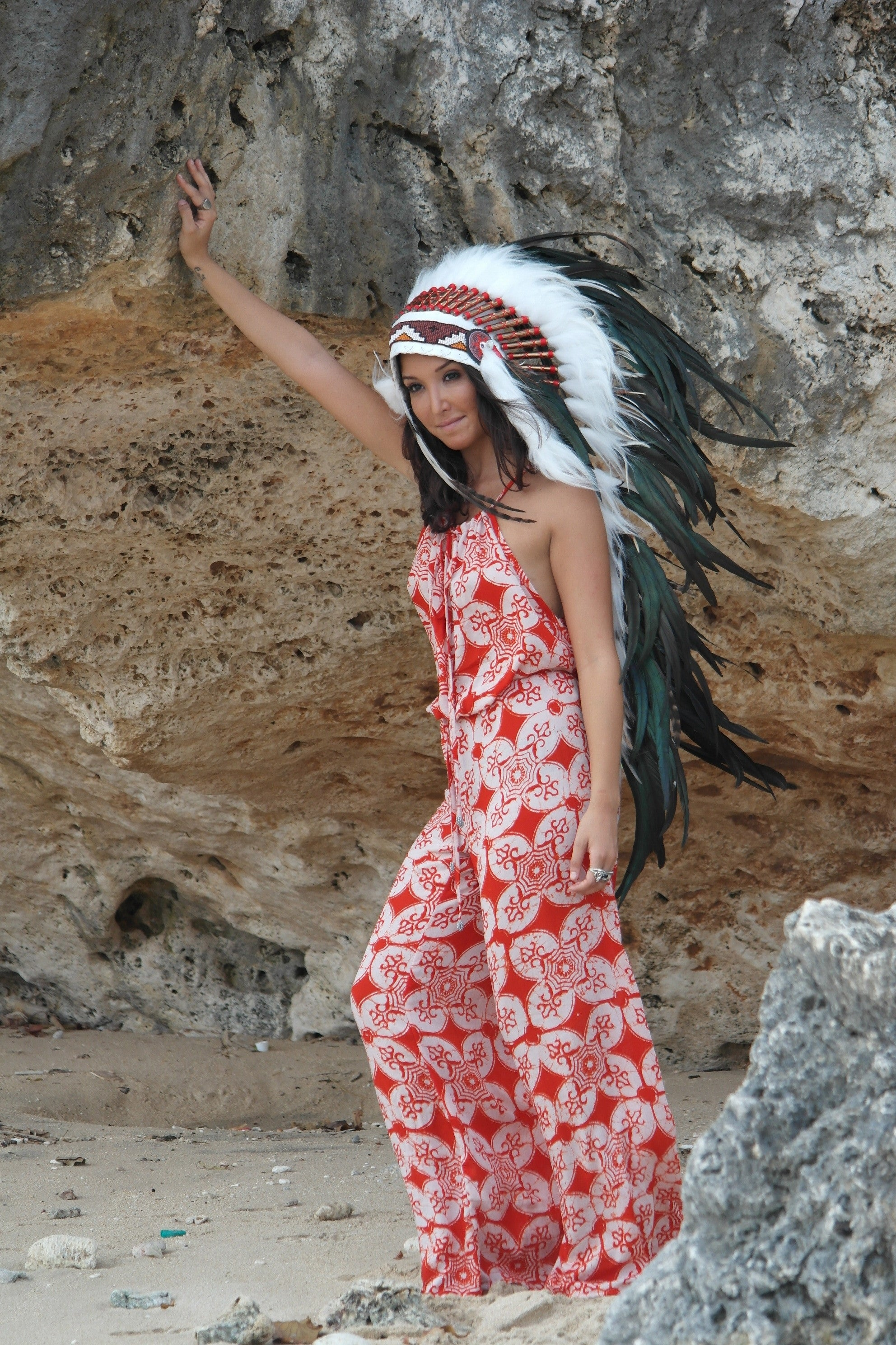 LONG Feather Headdress On Soft White Leather Black Feather