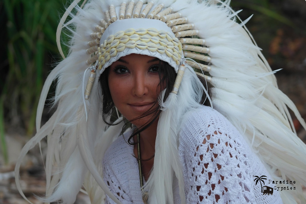 MTO Cowrie Shell All White Long Full Feather Headdress