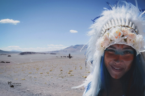 'Desert Love ' Blue / White Feather Medium Feather Headdress Full White Leather With Cream Flowers Mix Shells