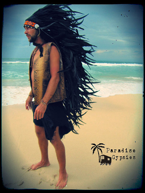 Black Long Full Feather Headdress With Orange Traditional Bead Detail