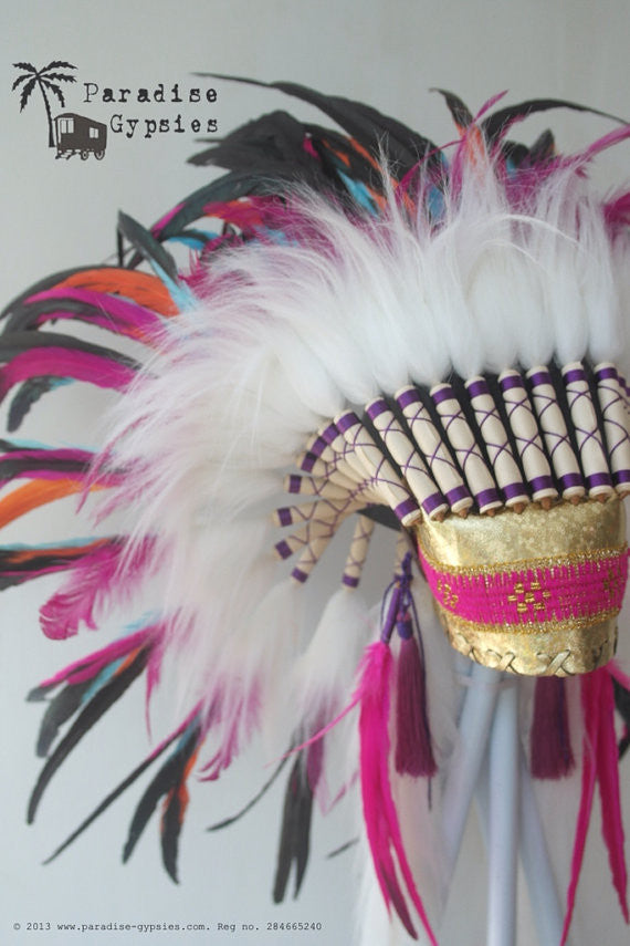 MTO Rainbow Feather Headdress, Gold Sparkle Leather, White Fur