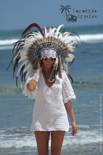 MTO White Red Feather White Lace on Gold Metallic Leather Mixed Feather Headdress
