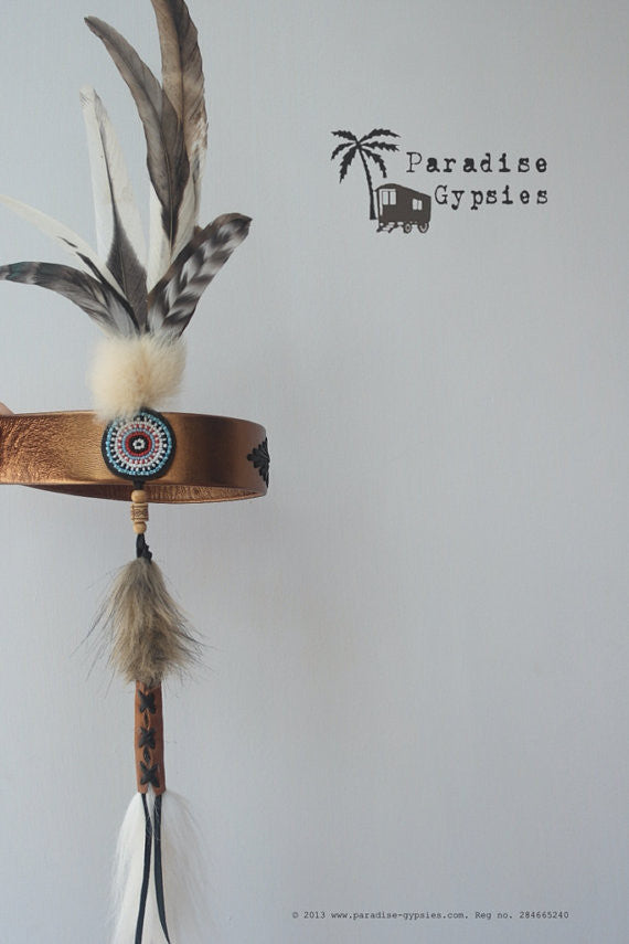 MTO Kids Gold Leather Natural Feather Turquoise Bead Headdress