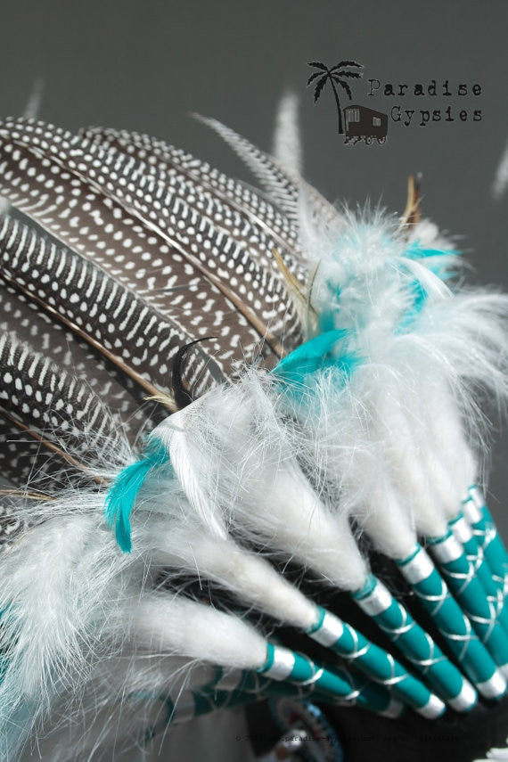 MTO Turquoise or Pink & Spotted Feather Headdress Hippie Beach Wedding Headpiece by Paradise Gypsies