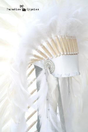 All White Medium Length Feather Headdress Silver White Side Bead
