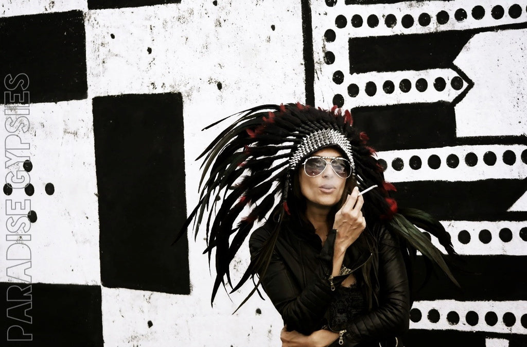 MTO Rocker Black & Red Feather Headdress with Punk Silver Spikes