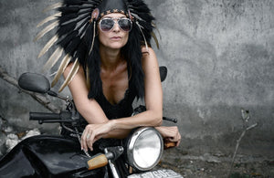 Gold Feather Black Leather Headdress