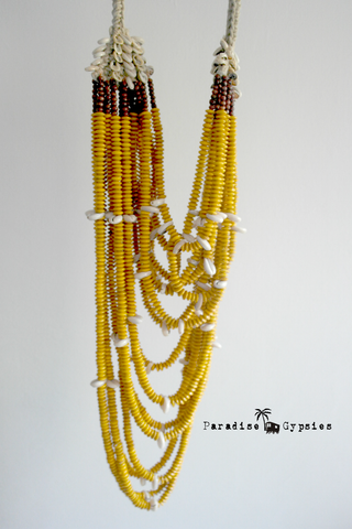 Mustard Colour Bead Layered Tribal Necklace