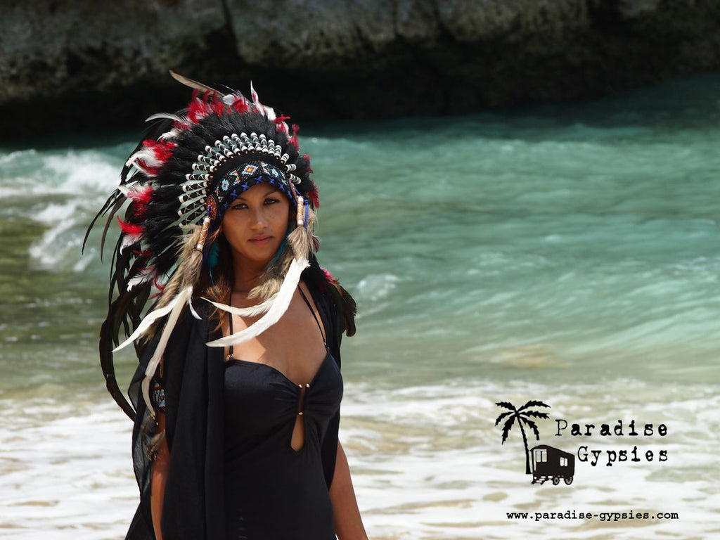 Tribal Red White Black Feather Headdress