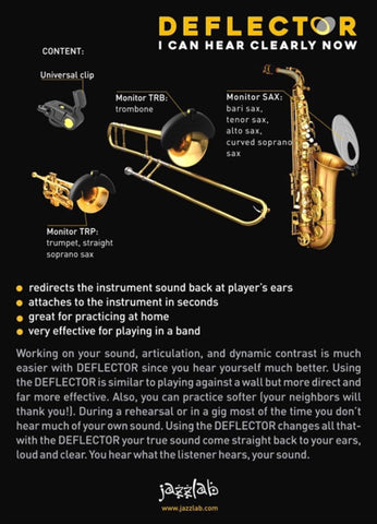DEFLECTOR by JazzLab for Alto/Tenor/Bari Sax or Trumpet/Trombone/Straight Soprano Sax