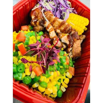 OnTheGo - BBQ chicken, Veggie rice, slaw and Corn