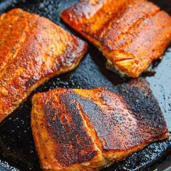 Cajun salmon roasted new potatoes cabbage and beans-LDNutrition
