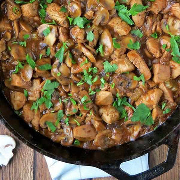 Chicken & Mushroom Casserole served with Carrot and Potato Mash