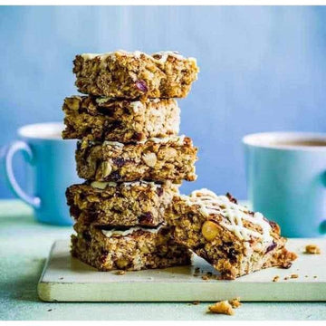 Cranberry, nut and white choc flapjacks