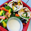 OnTheGo Spicy Chicken and Hummus Wrap, Served with side salad and honey and mustard dressing