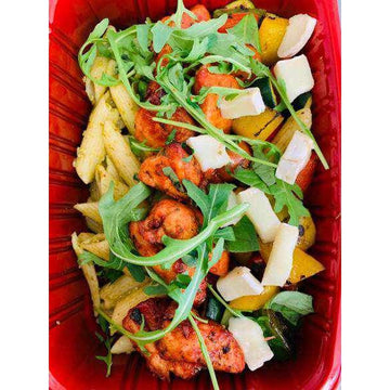 OnTheGo - Pesto pasta with rosemary and garlic chicken, peppers and goats cheese