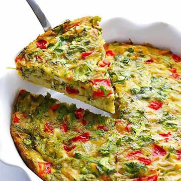 Red pepper, spinach and broccoli frittata