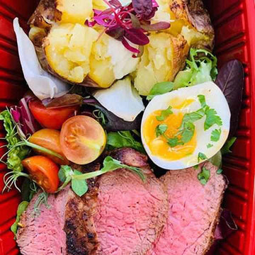 OnTheGo - Seared steak,  jacket potato, boiled eggs and sour cream