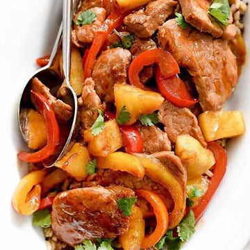 Sweet & Sour Pork Fillet served with white rice